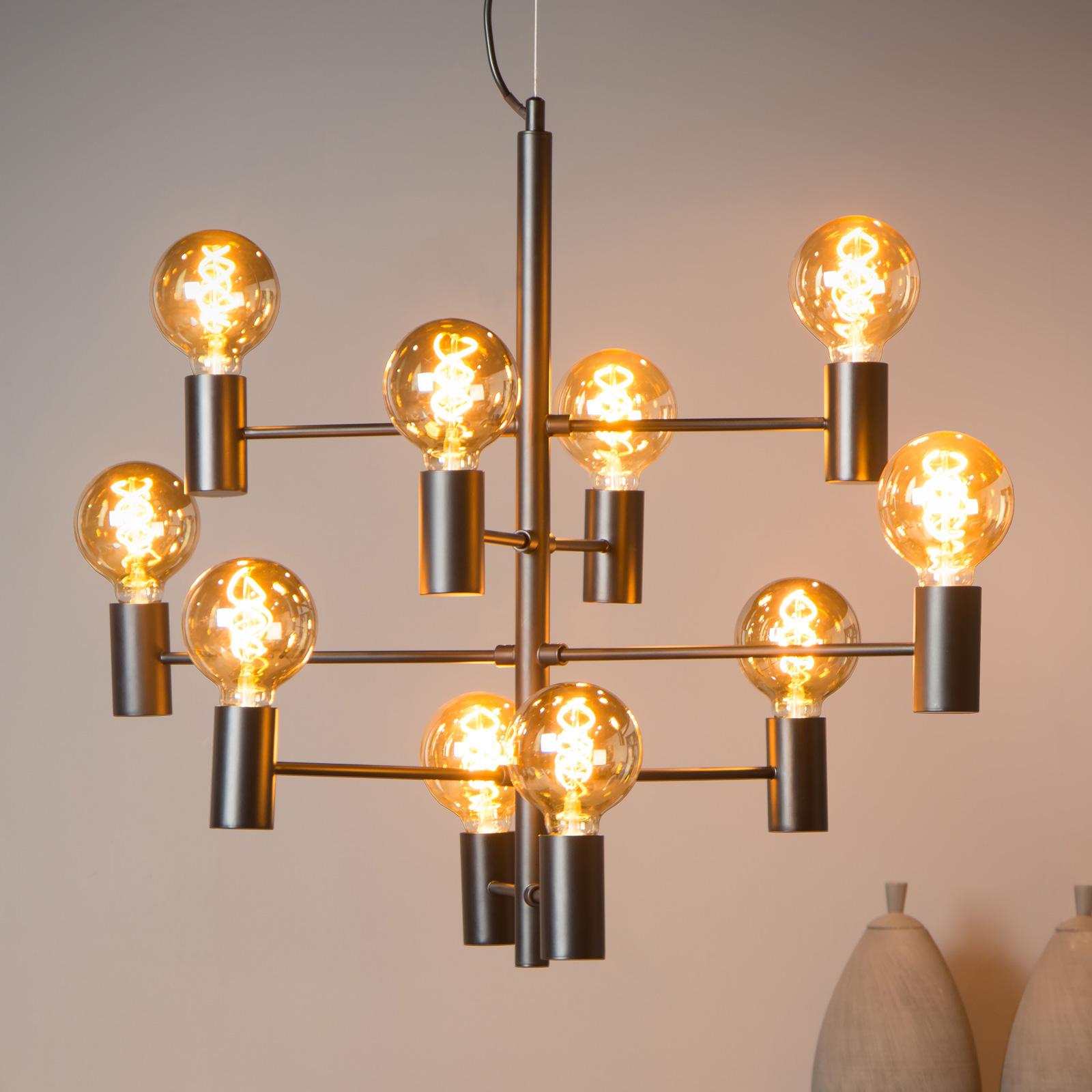 Hanglamp Leanne, zwart, 10-lamps