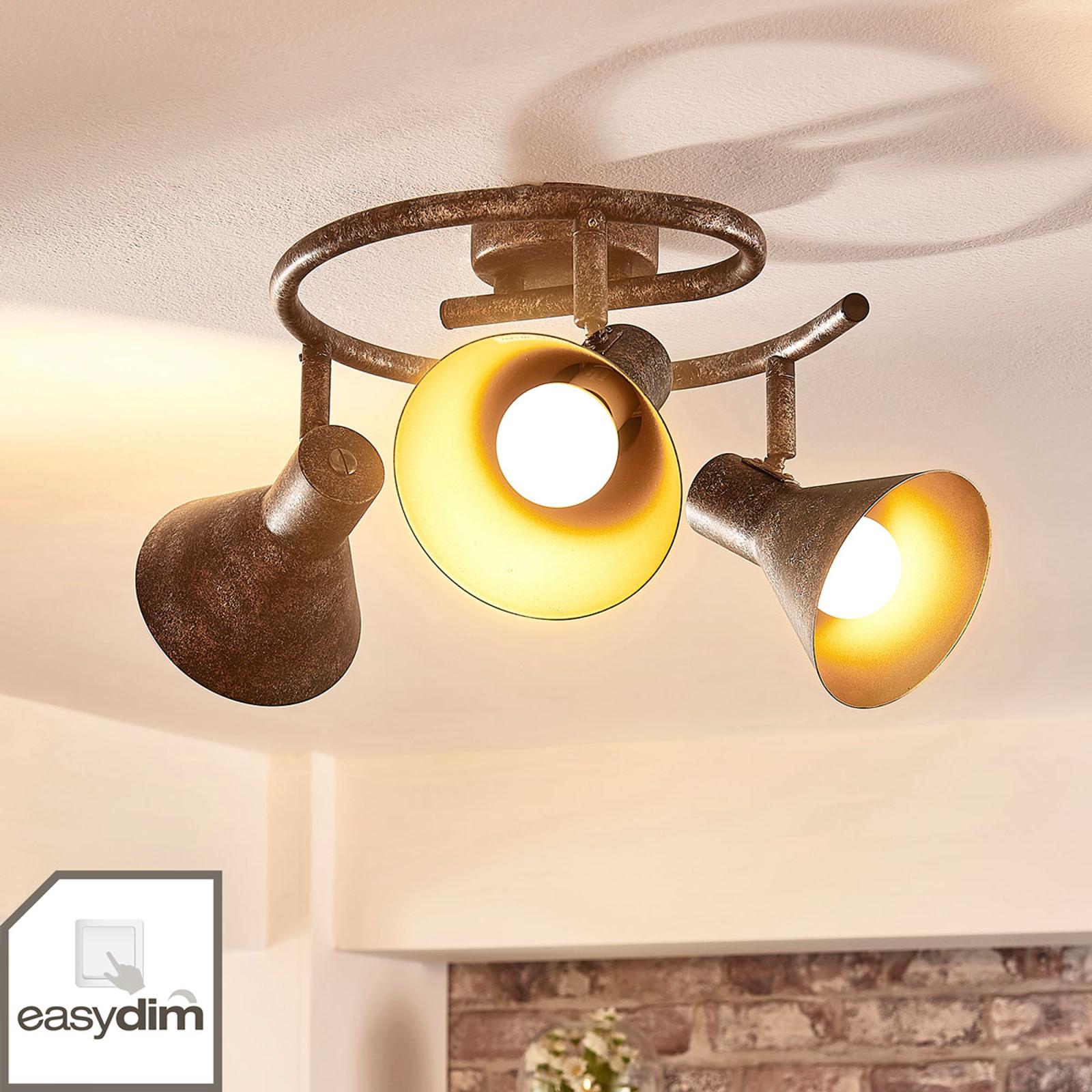 Ściemniana lampa sufitowa LED Zera, rdzawo-złota