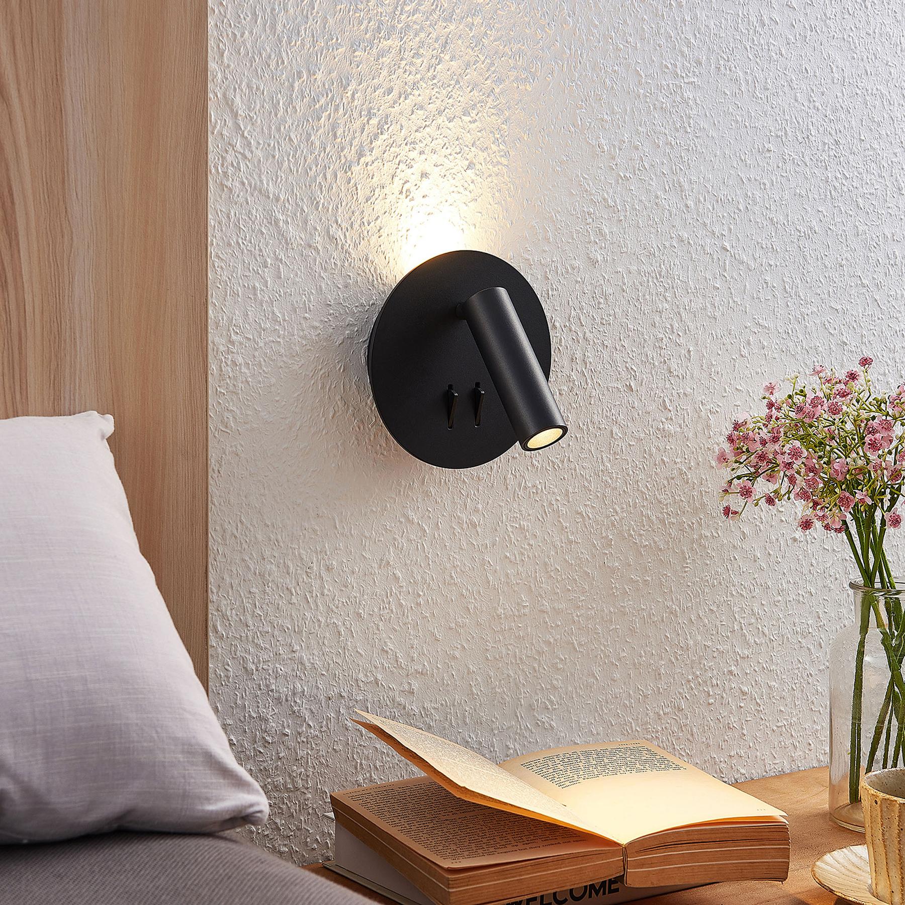 Lucande Magya LED wandlamp zwart 2-lamps rond