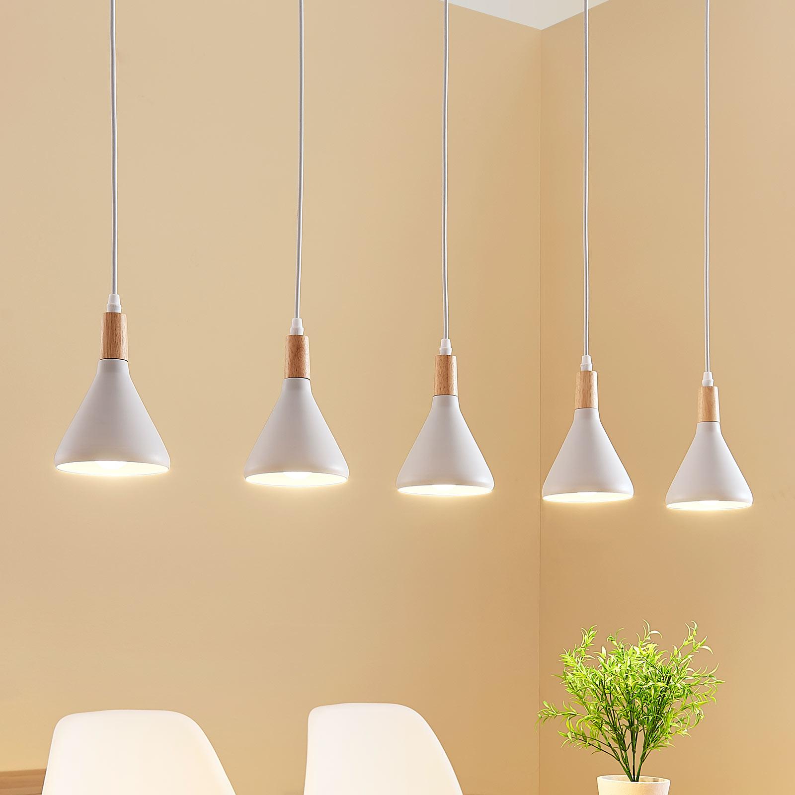 Suspension LED Arina à 5 lampes en blanc
