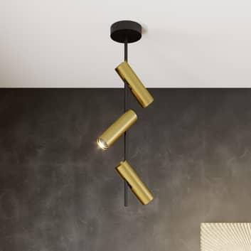 Plafondspot Leda 3, 3-lamps, zwart-goud