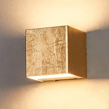 Goudkleurige LED wandlamp Quentin, 9 cm