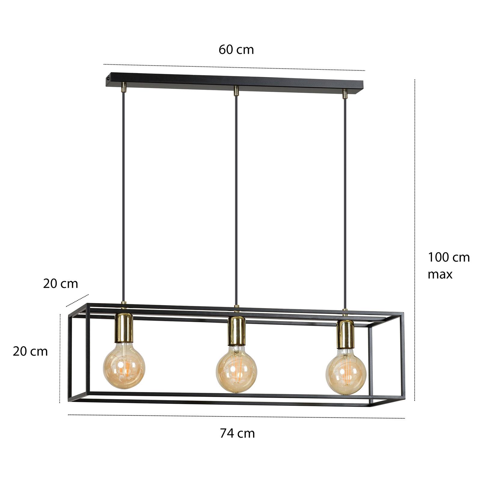 Lampa wisząca Karmen 3, 3-punktowa, czarna