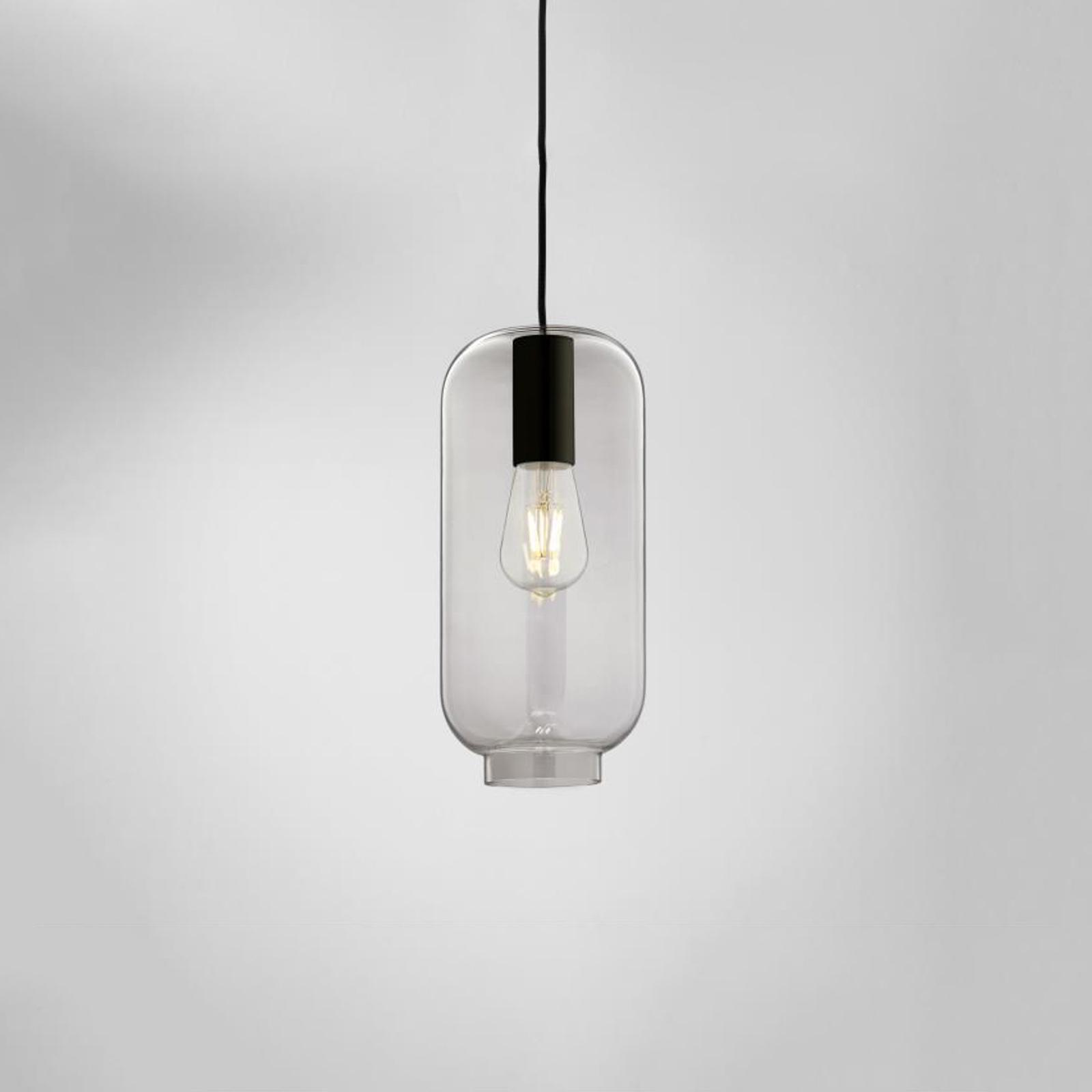 LOUM Loon Soft hængelampe, gråt glas, sort