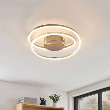 Lindby Davian LED-Deckenleuchte, dimmbar, nickel