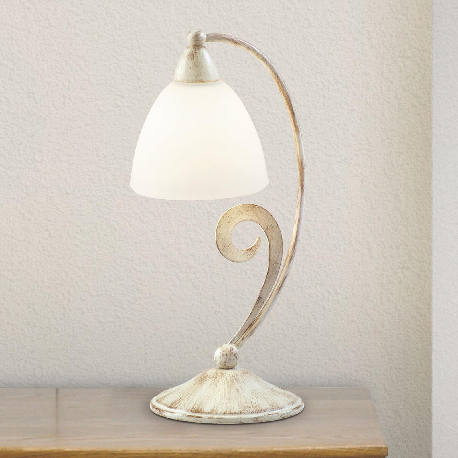 Lampe à poser 1730/1L, blanche satinée, ivoire