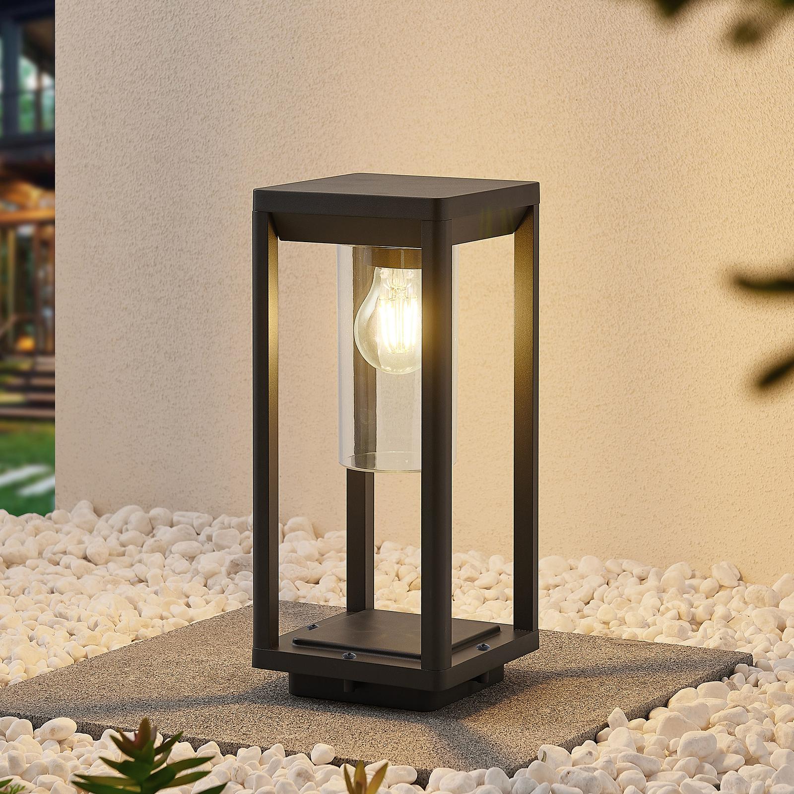 Lindby Estami lampioncino, 35 cm, grigio scuro