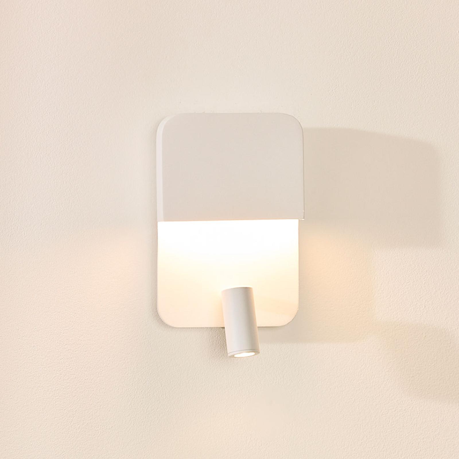 Boxer LED-vegglampe med spot, hvit