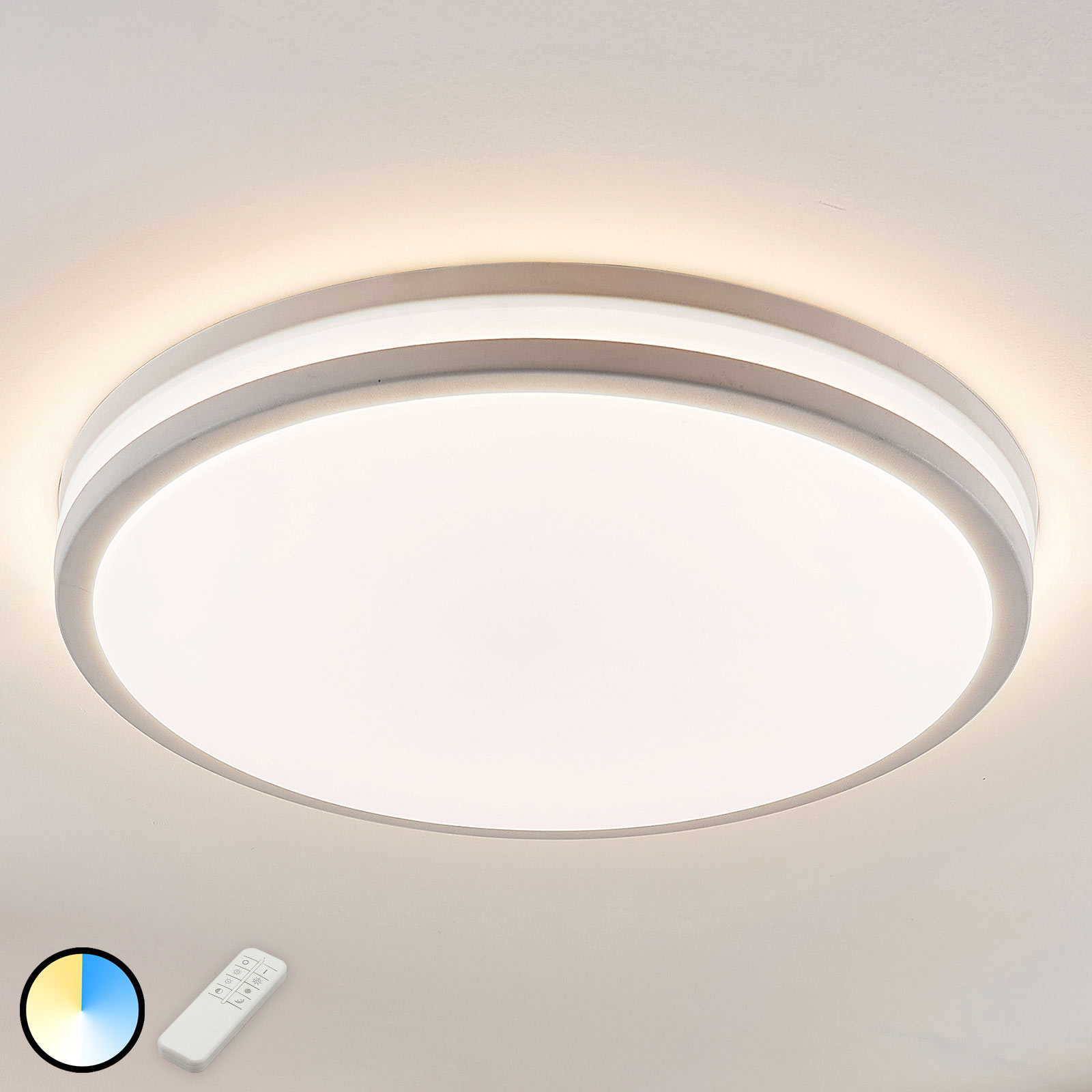 LED plafondlamp Armin in wit, ronde vorm
