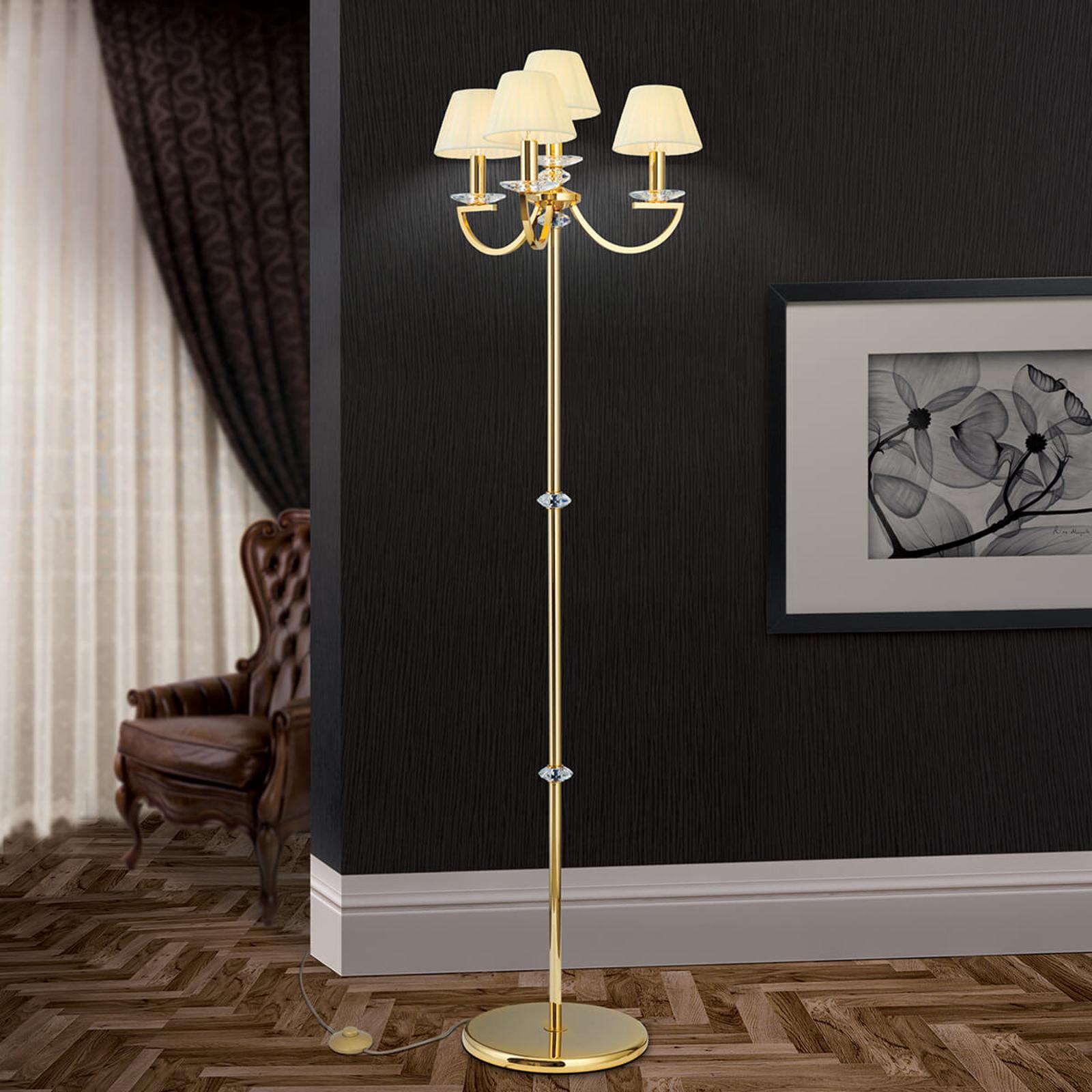 Kryształowa lampa stojąca Avala, złoto 24-karatowe