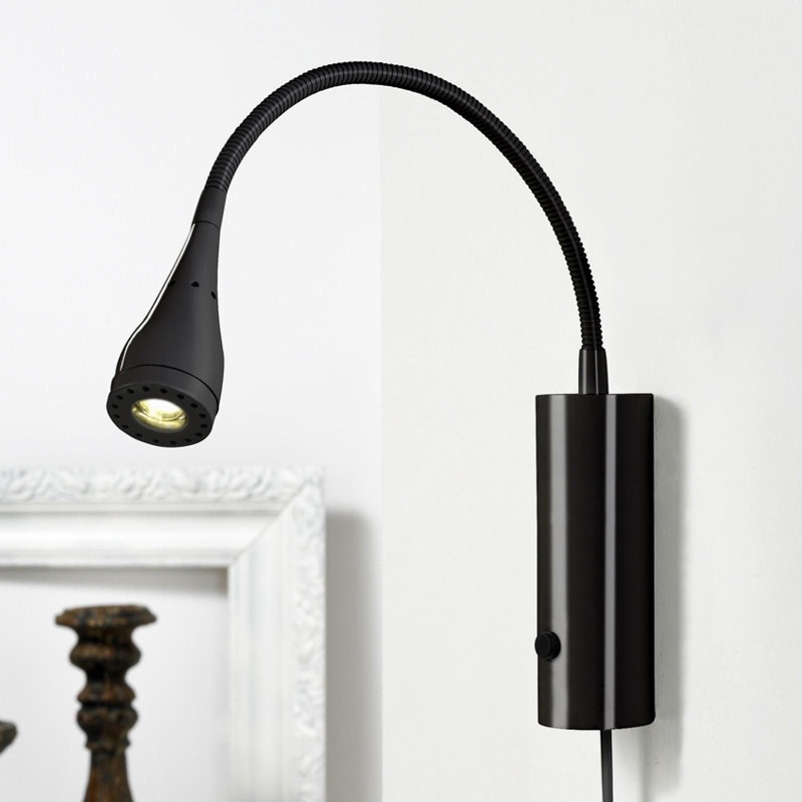 LED-Wandleuchte Mento mit Flexarm, schwarz