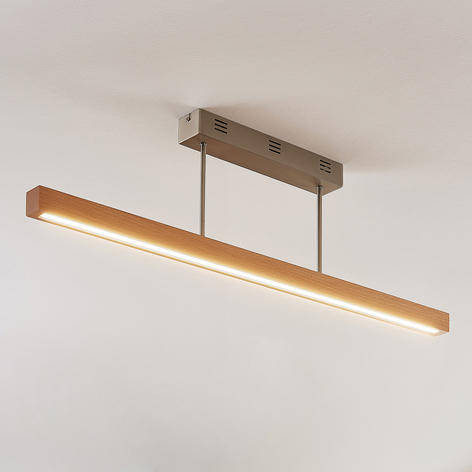 LED houten plafondlamp Tamlin, beukkleuren