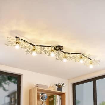 Lucande Alexaru loftlampe, 6 lyskilder, guld, lang