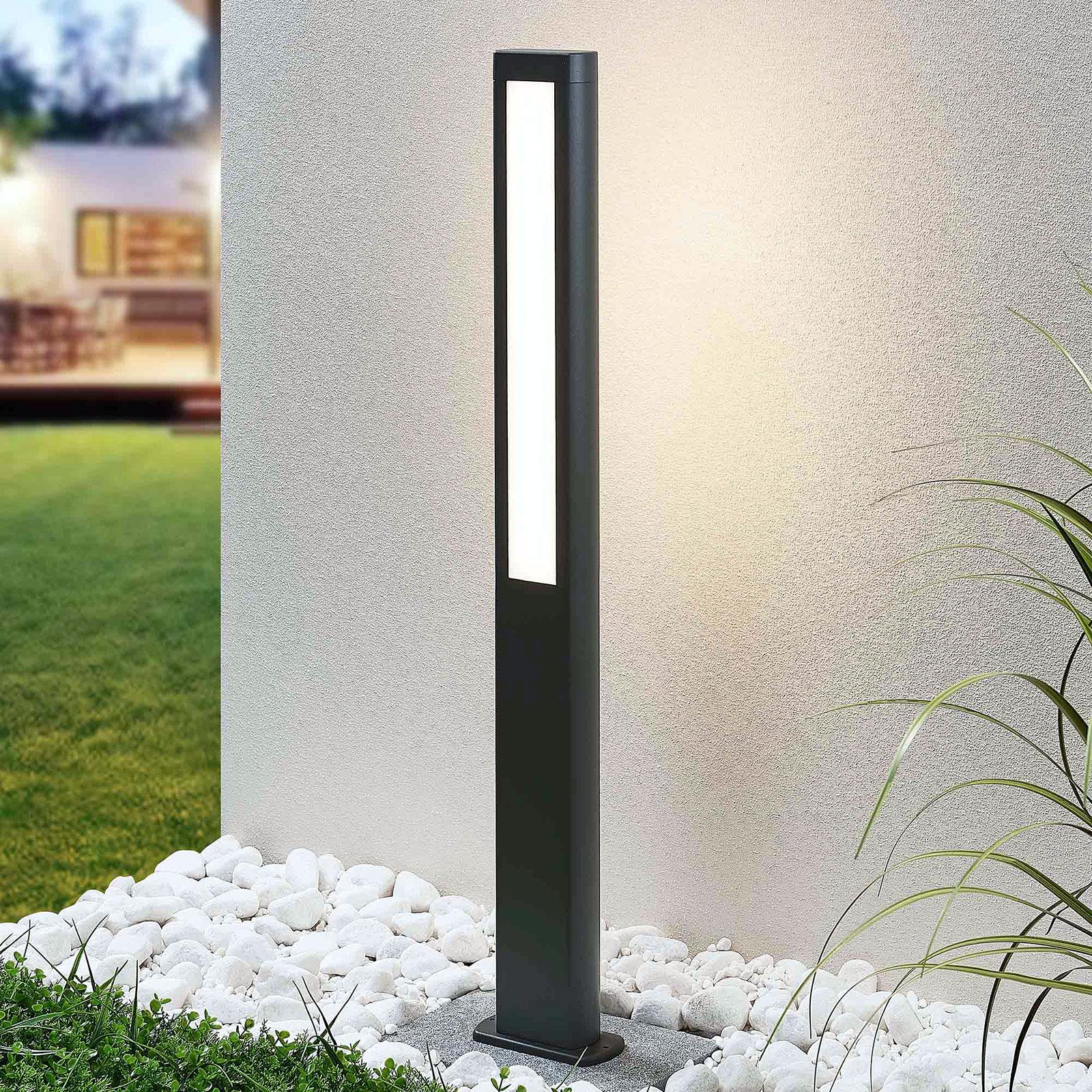 Słupek ogrodowy LED Mhairi,kanciasty,szary,100cm