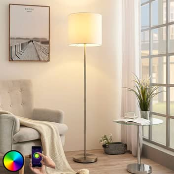 Lindby Smart lampa stojąca LED Everly, app, RGB