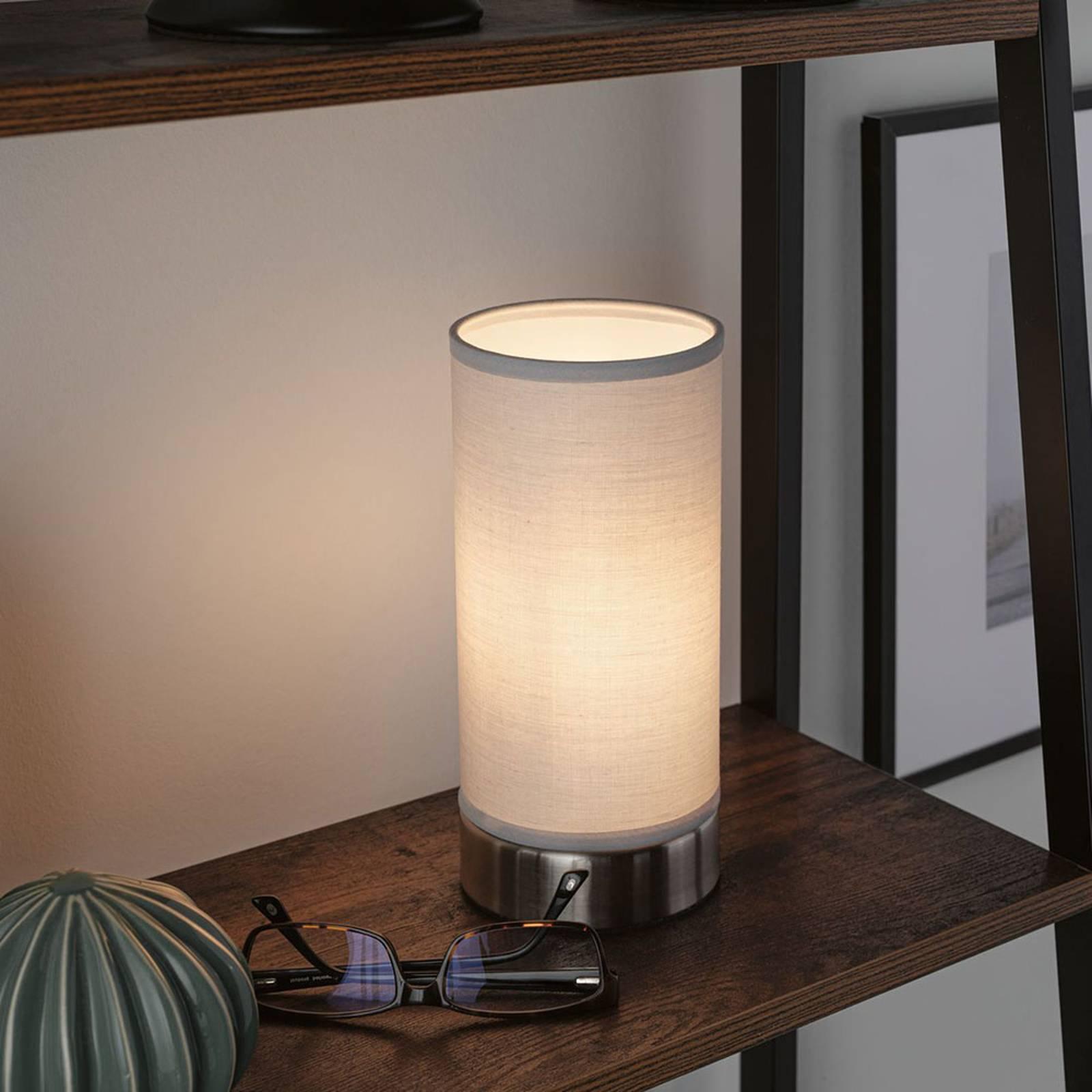 Paulmann Pia tafellamp van stof, lichtgrijs