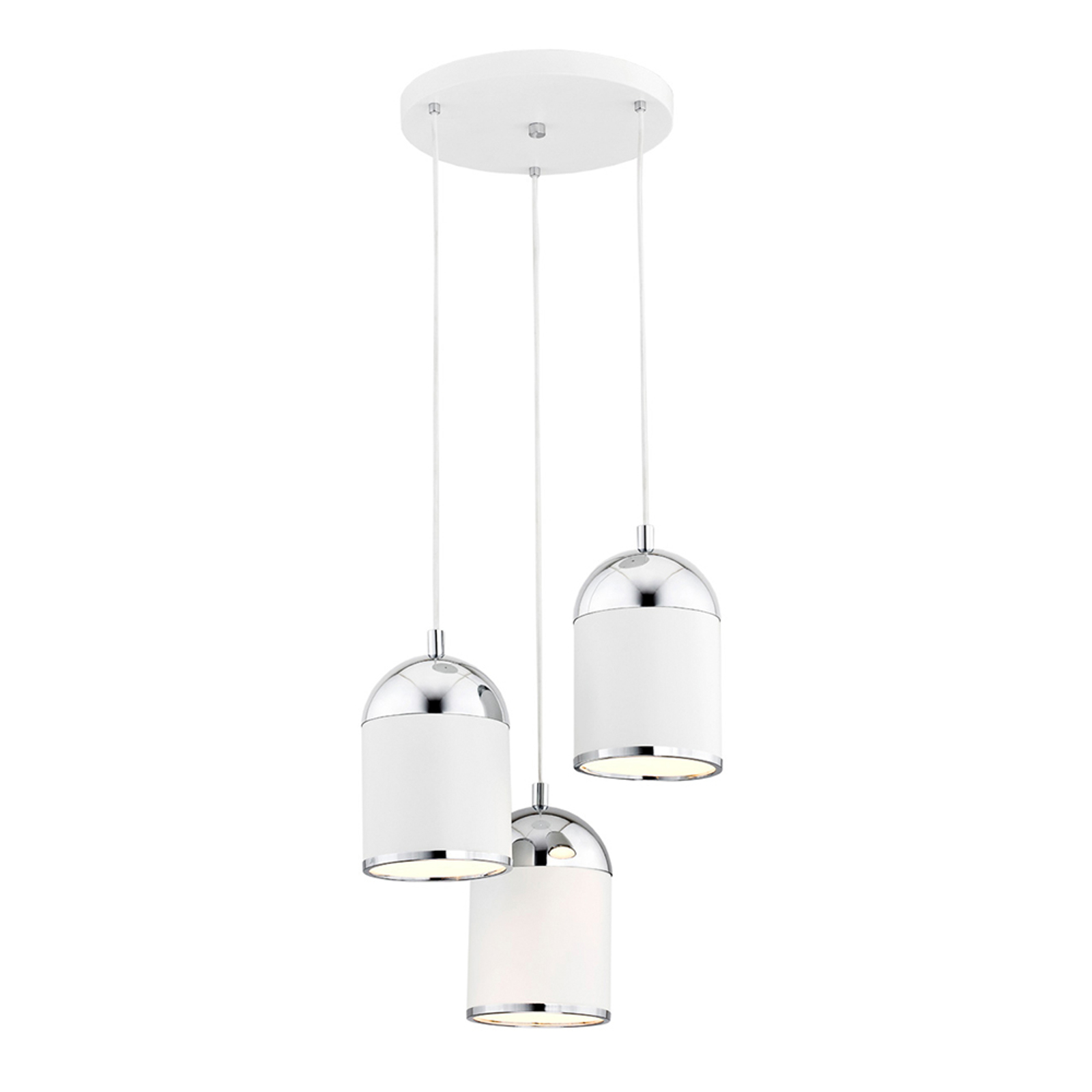 Suspension Anadia, à 3 lampes, ronde, blanche