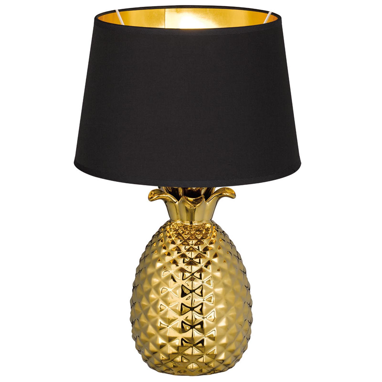 Lampada da tavolo Pineapple tessuto nero-oro 45 cm