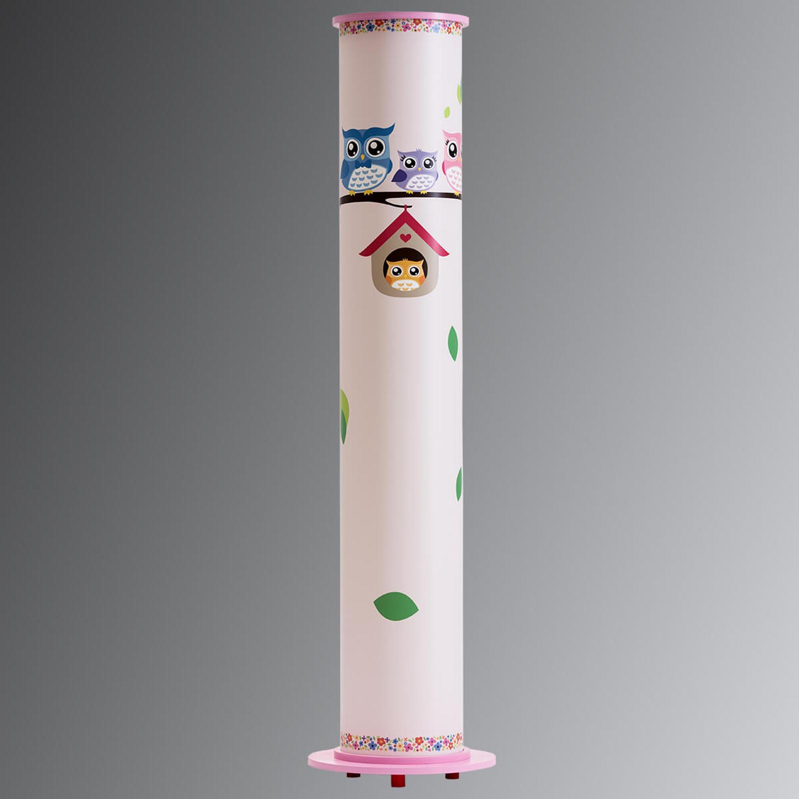 Różowa dziecięca lampa stojąca Sowa