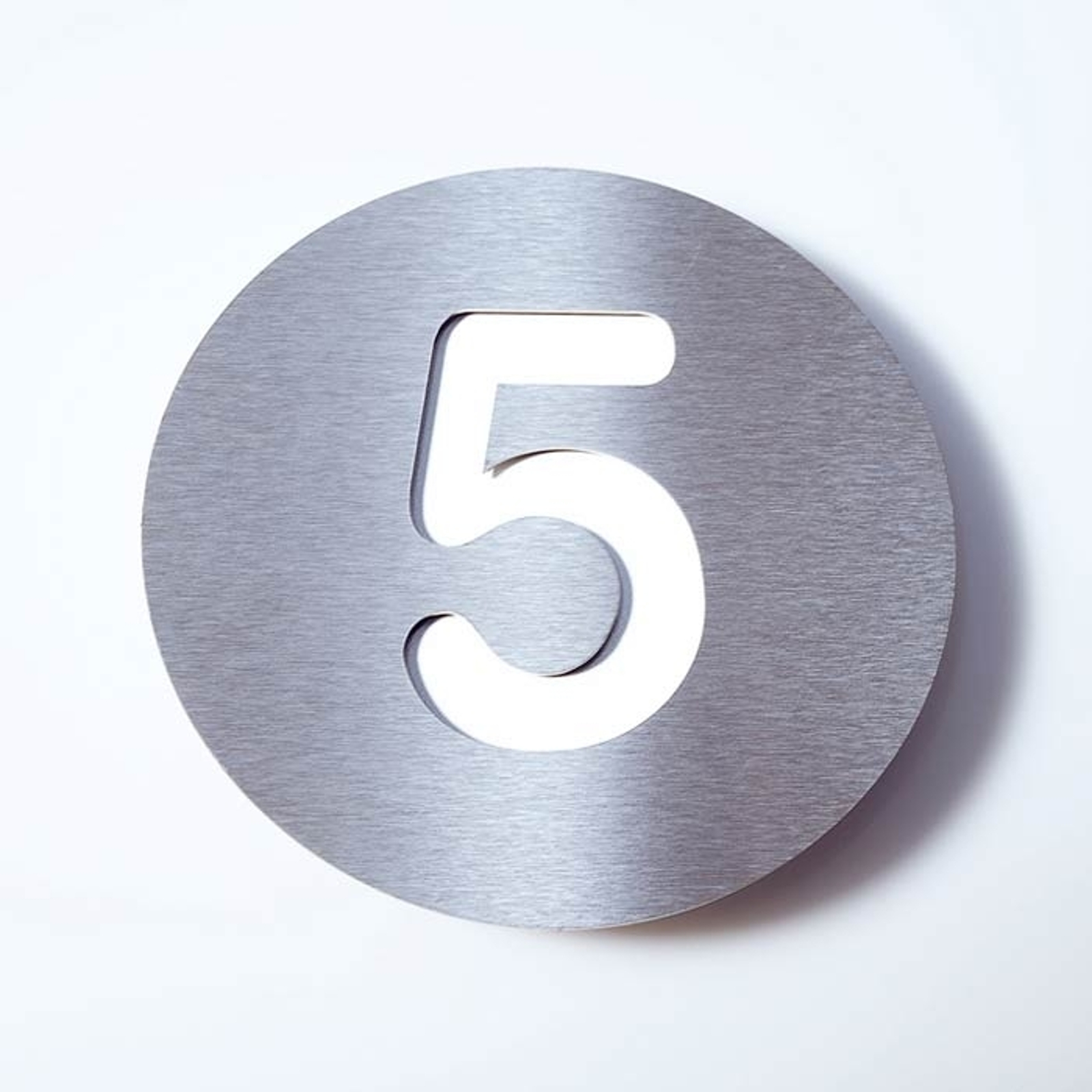 Número de casa Round de acero inoxidable - 5