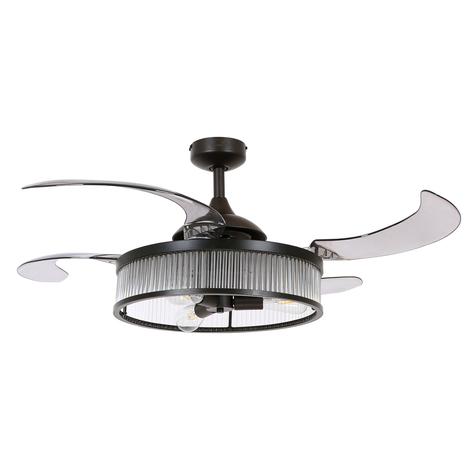 Plafondventilator Fanaway Corbelle, licht, zwart