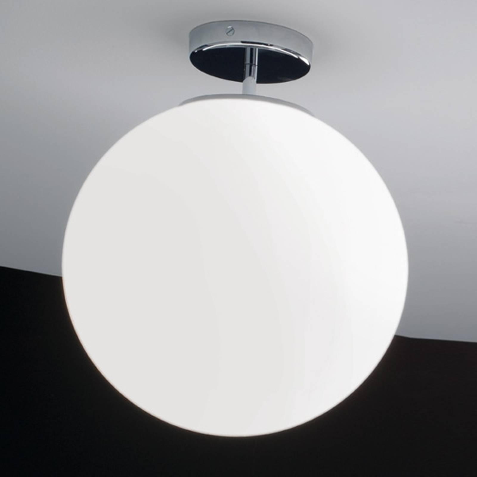 Glazen plafondlamp Sferis, 40 cm, chroom