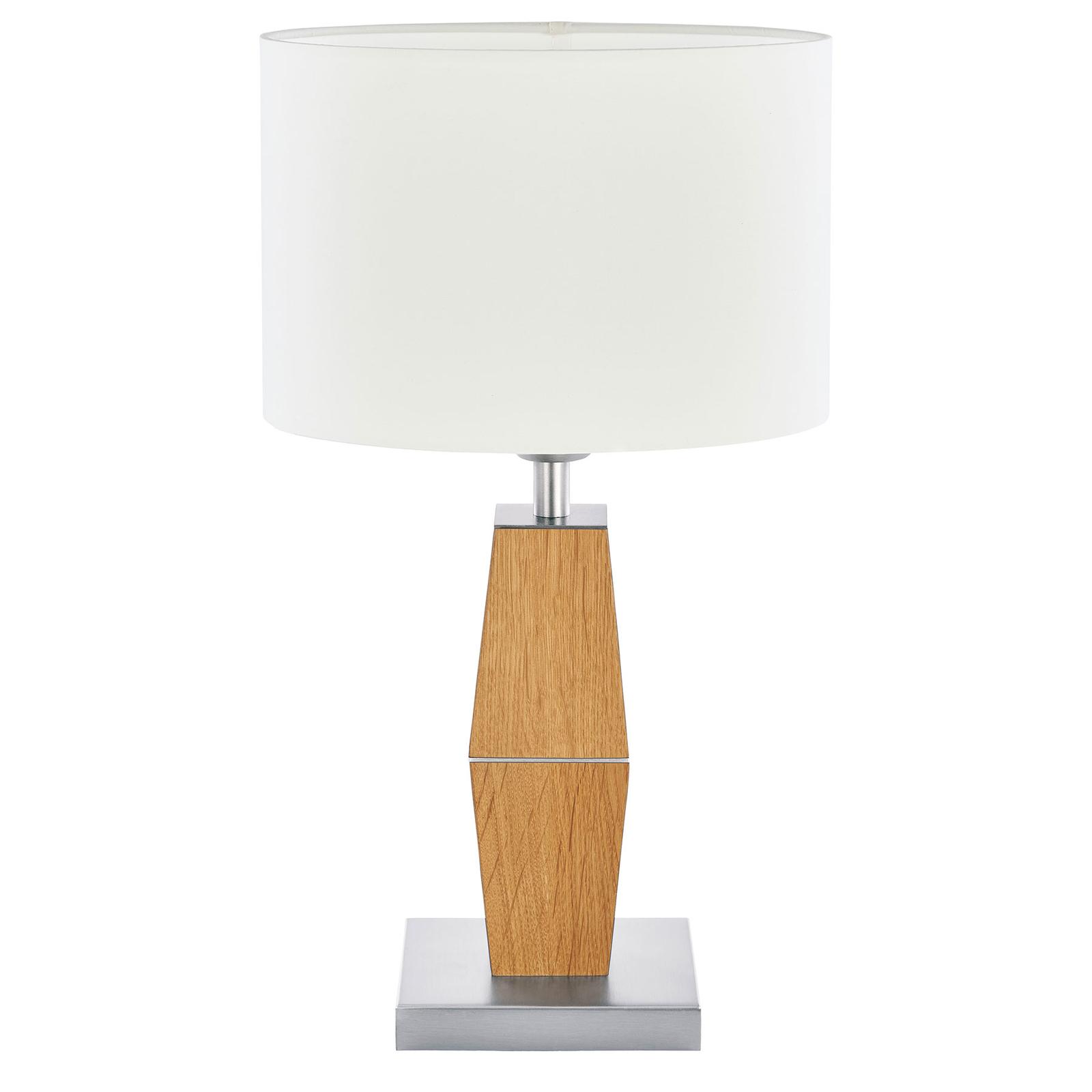 HerzBlut Marla Tischlampe, Eiche geölt weiß 42,5cm