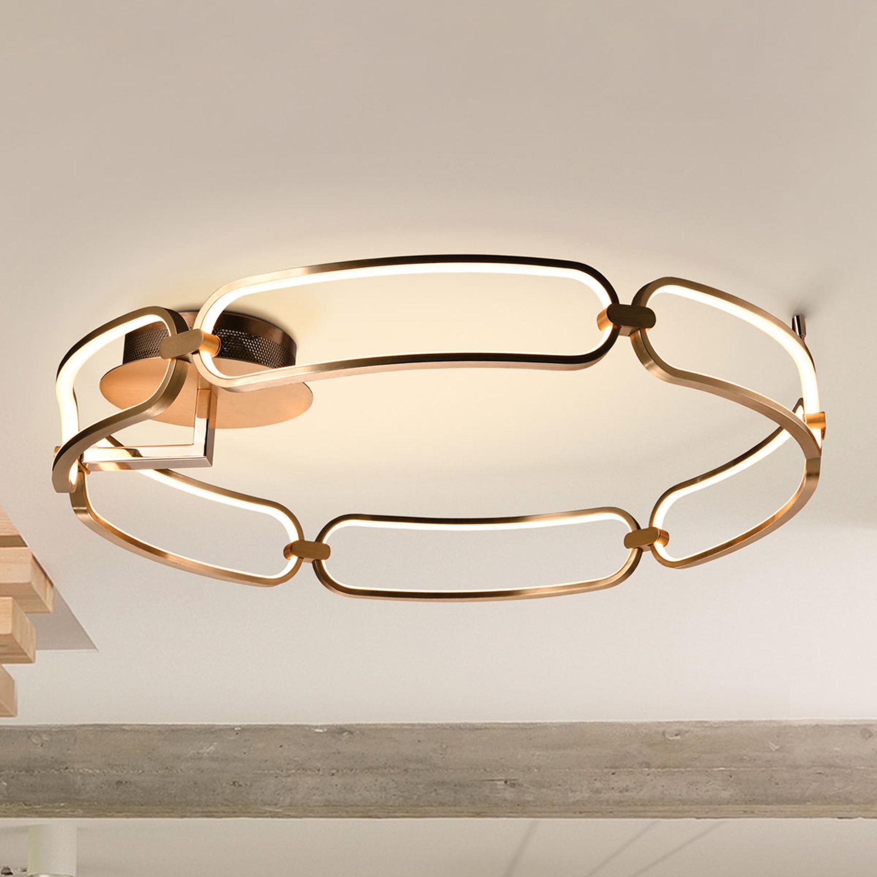 Plafoniera LED Colette, 6 luci, oro rosè