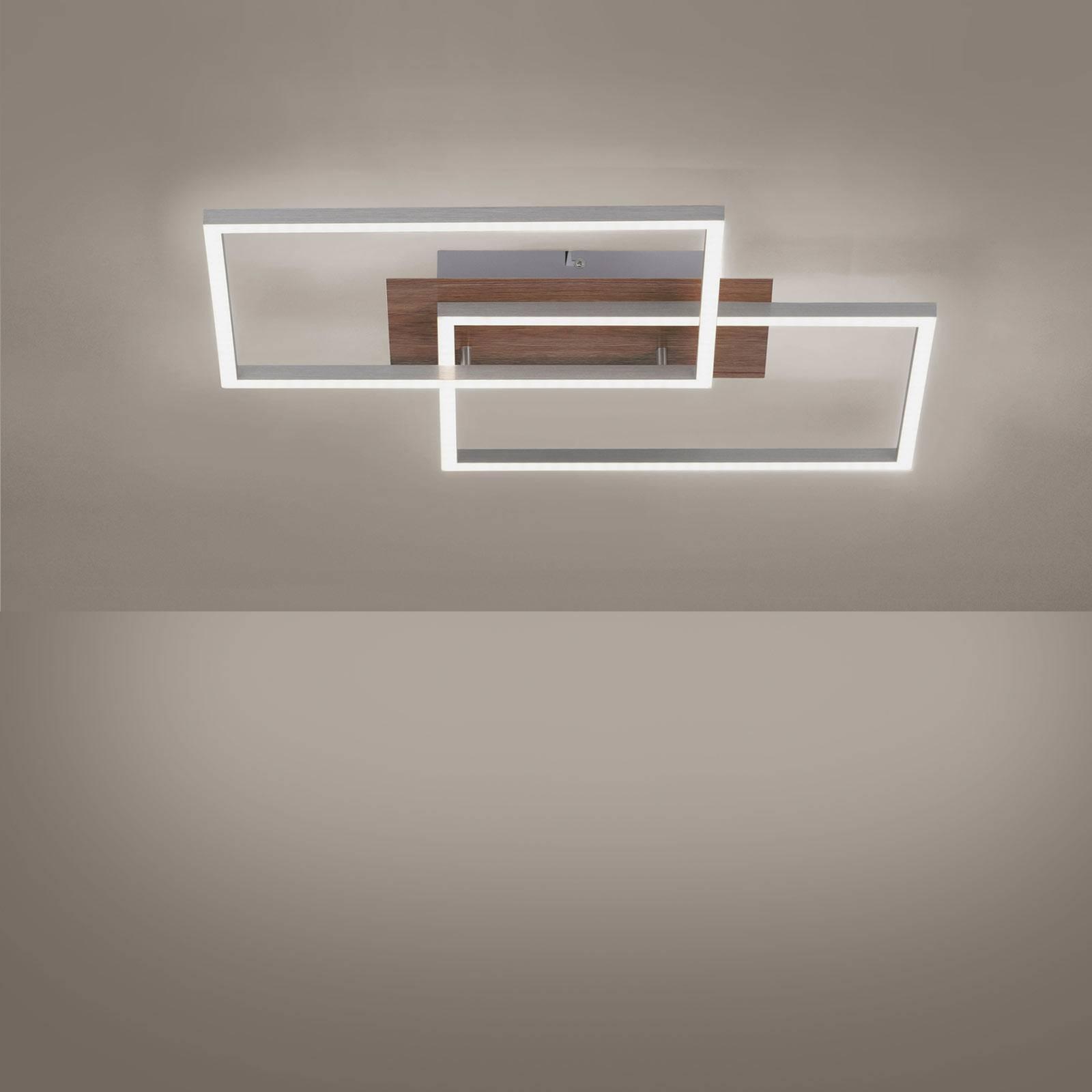 LED-Deckenleuchte Iven Holzdekor/stahl 2Fl Quadrat