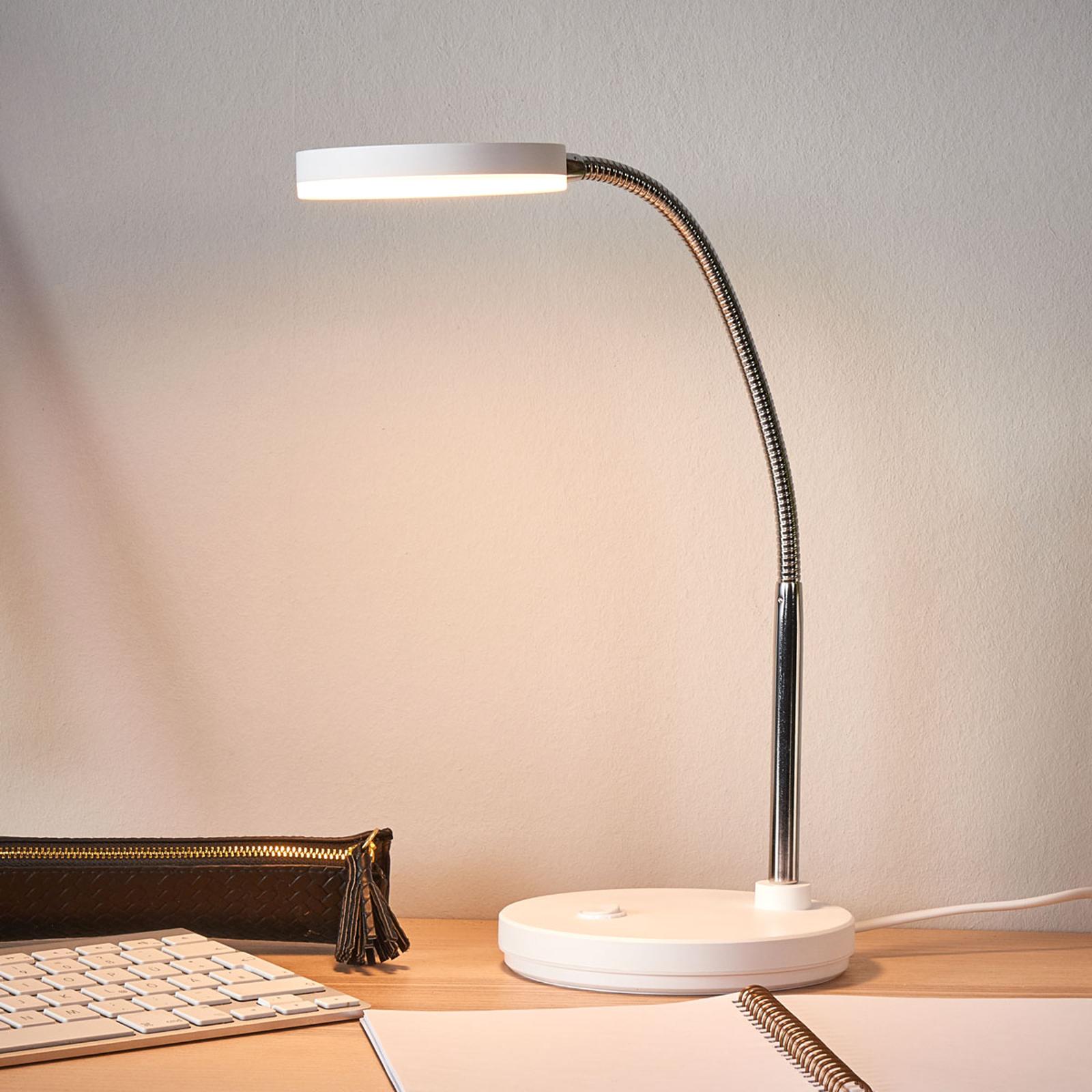 Biała lampka biurkowa LED Milow
