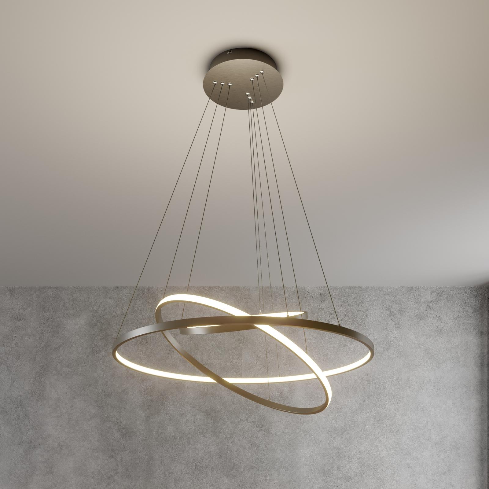 Lámpara colgante LED Ezana tres anillos, níquel