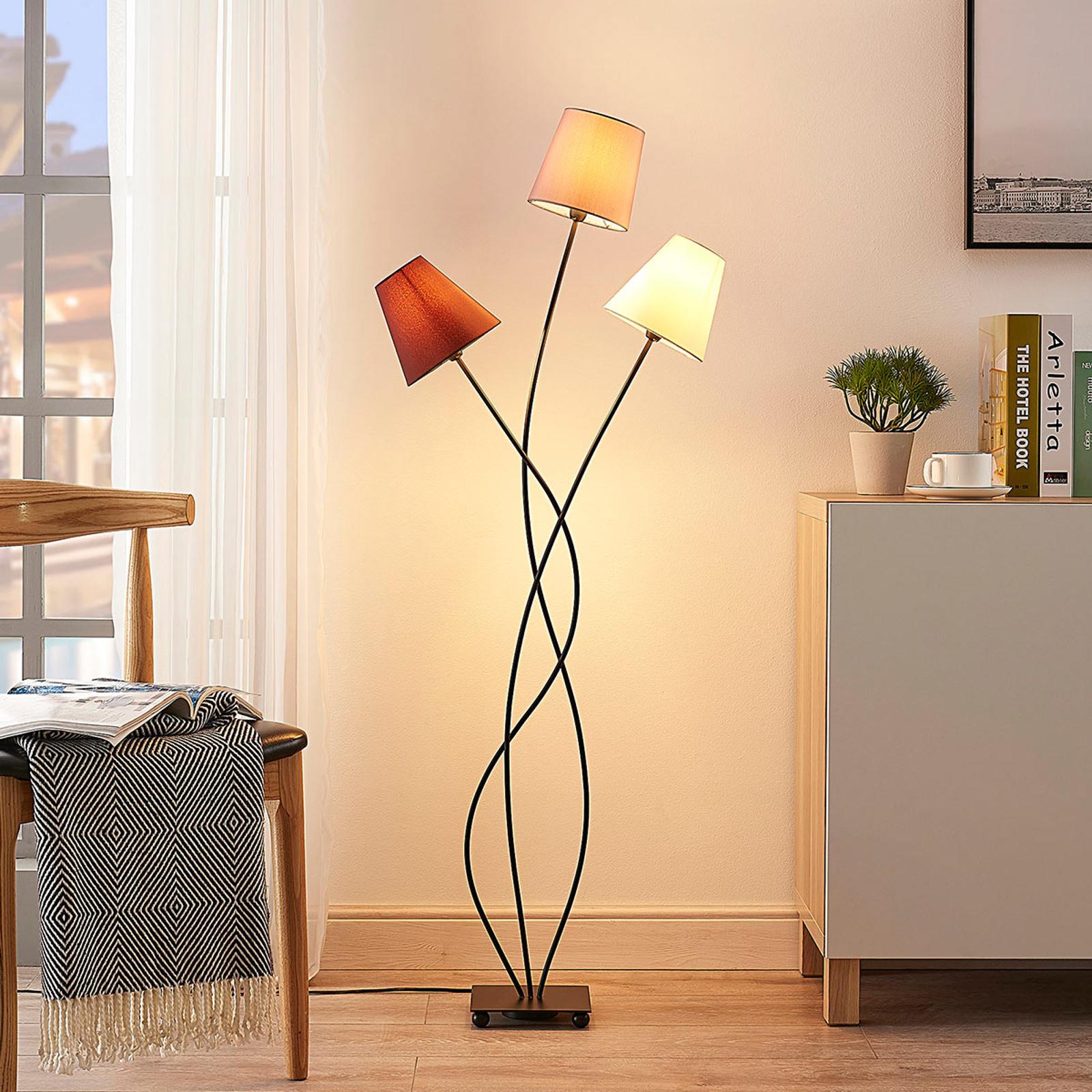 Vloerlamp Melis met stoffen kappen en drie lampen
