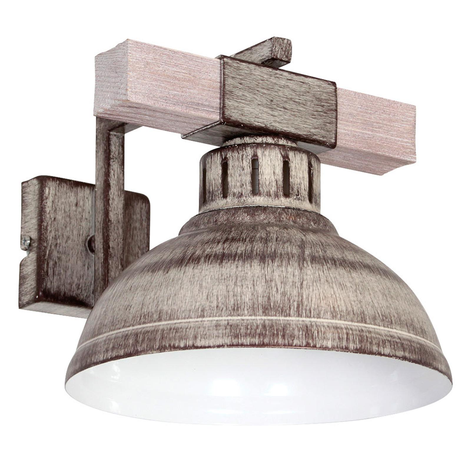 Lampa ścienna Hakon, żelazo/jasne drewno