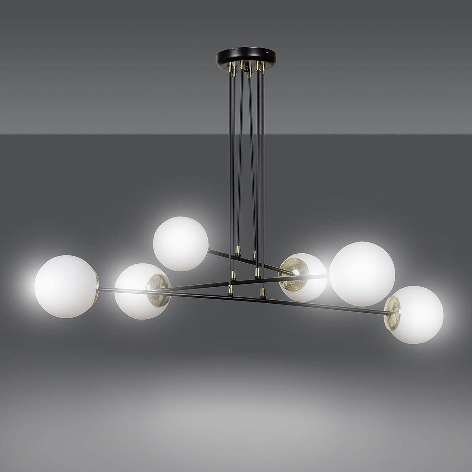 Lampa wisząca Ognis 6, 6-punktowa, czarna/złota