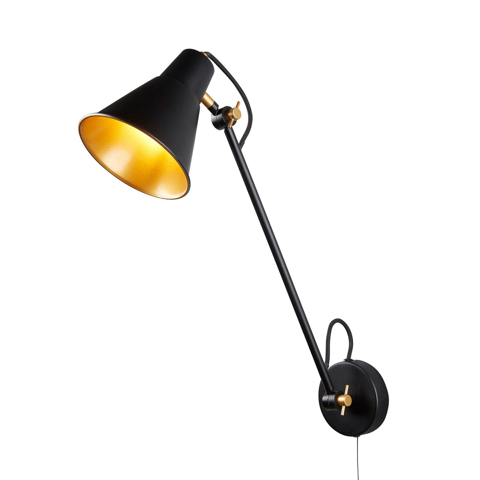 Wandlamp 6302 van metaal, zwart-goud