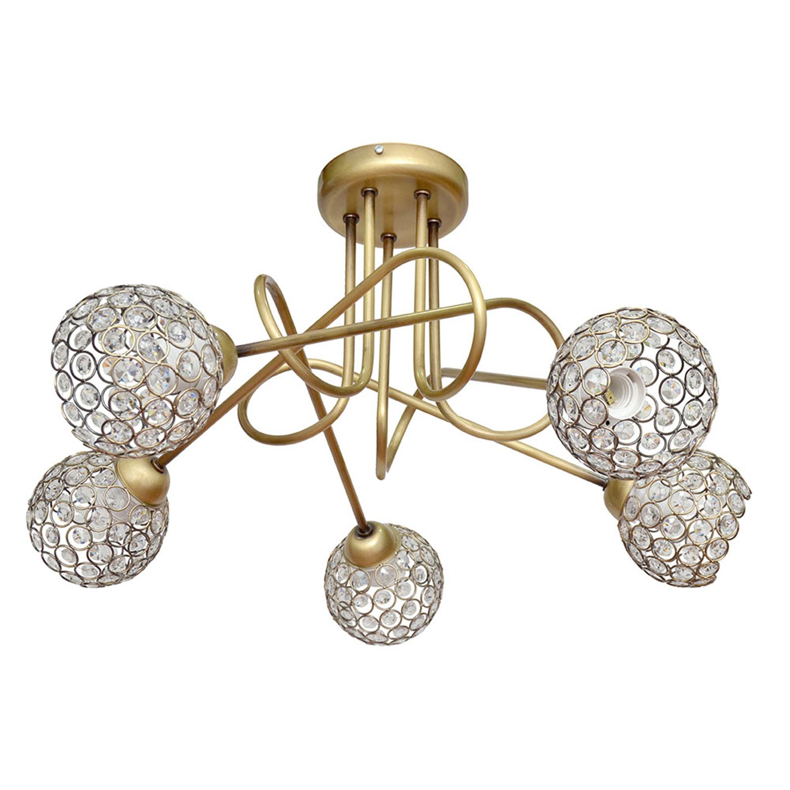 Taklampe Oxford i gull med krystaller, 5 lyskilder