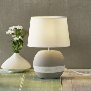 Creto bordlampe med hvid tekstilskærm