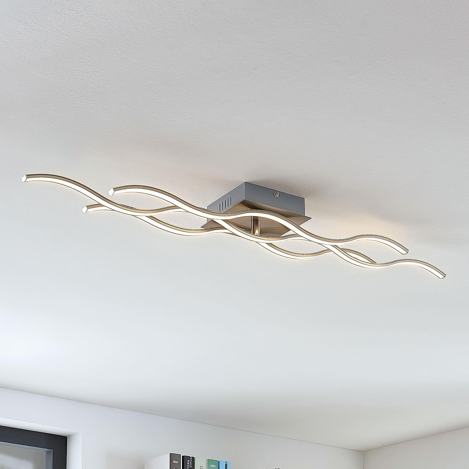 Dreiflammige LED-Deckenleuchte Safia in Wellenform