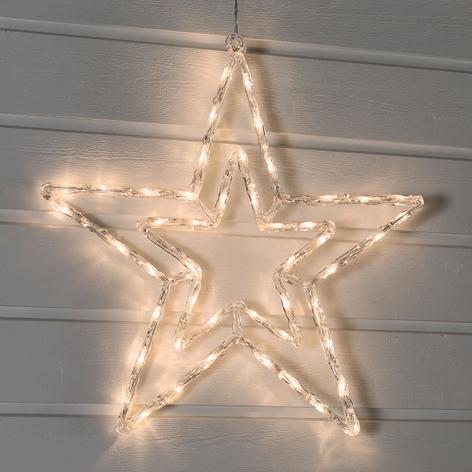 Utendørs LED stjerne med varmhvitt lys