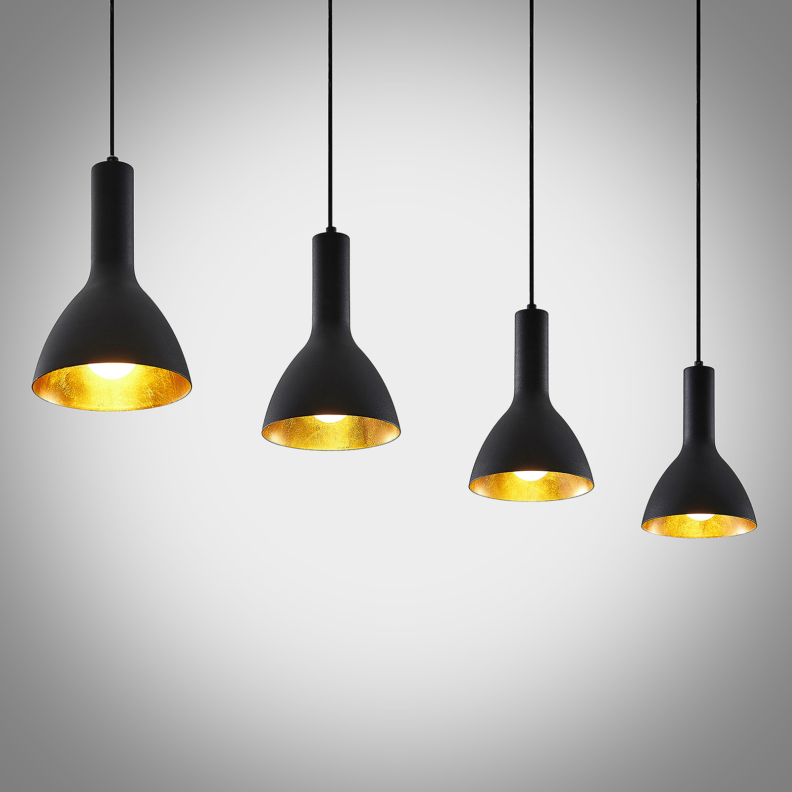 Arcchio Cosmina hänglampa, 4 lampa lång svart