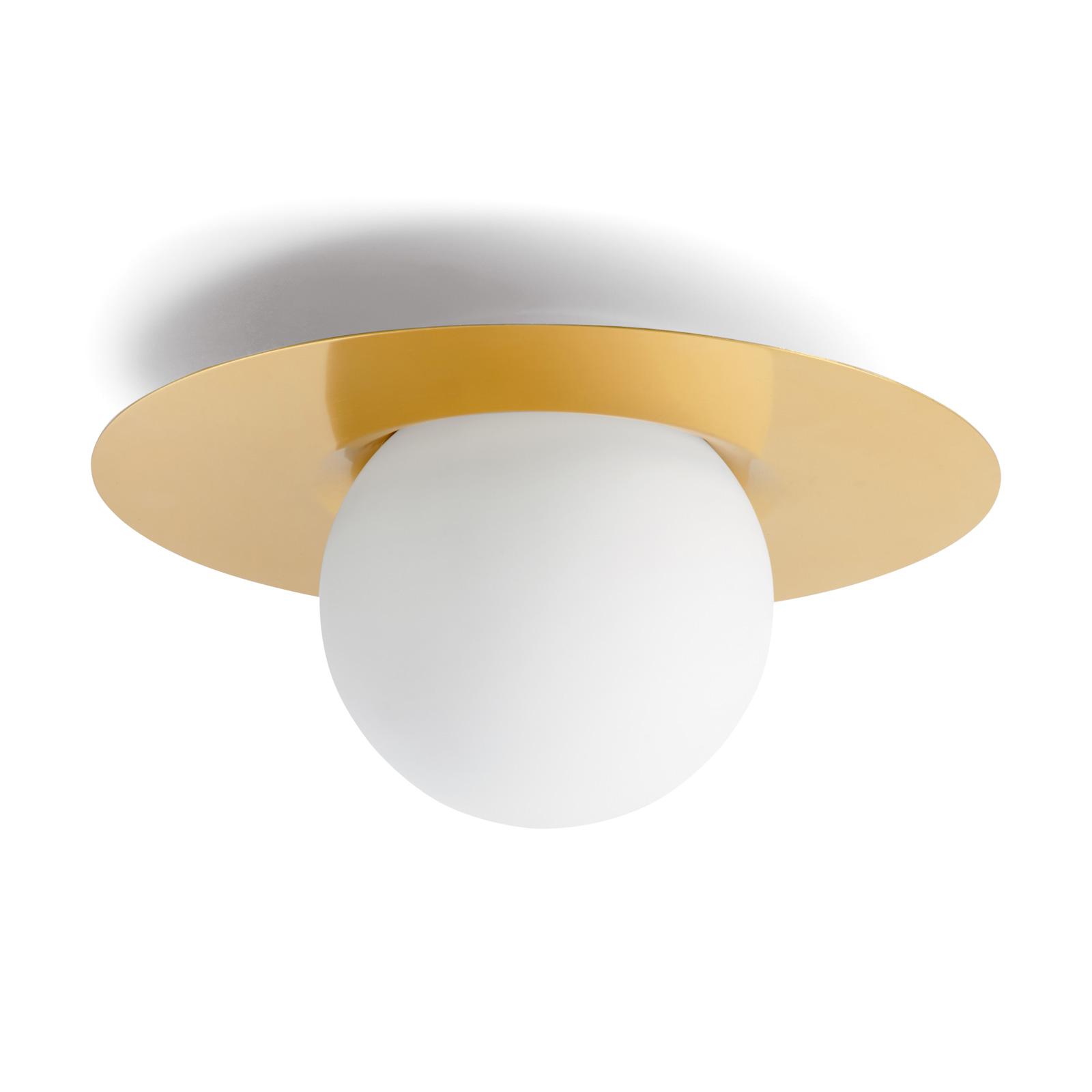Lampa sufitowa Hat ze szkła z płytą mosiężną
