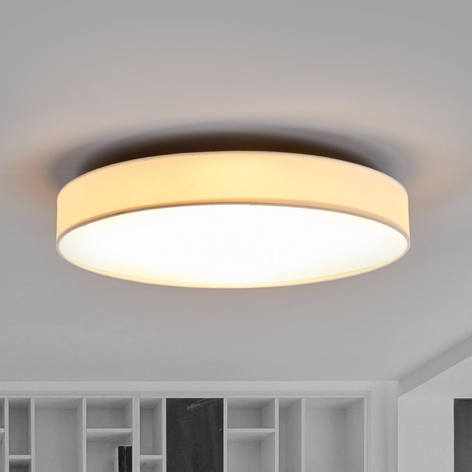 LED-taklampa Saira i textil, 50 cm, vit