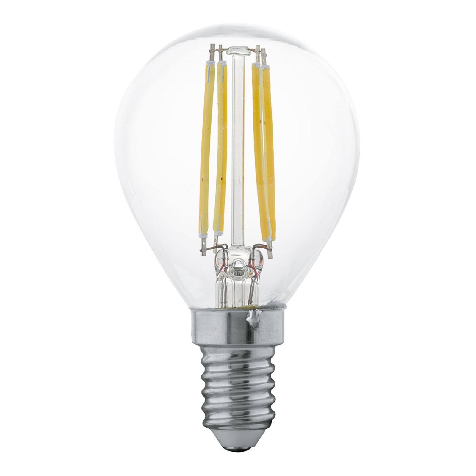 Żarówka filament LED E14 P45 4W, ciepła biel