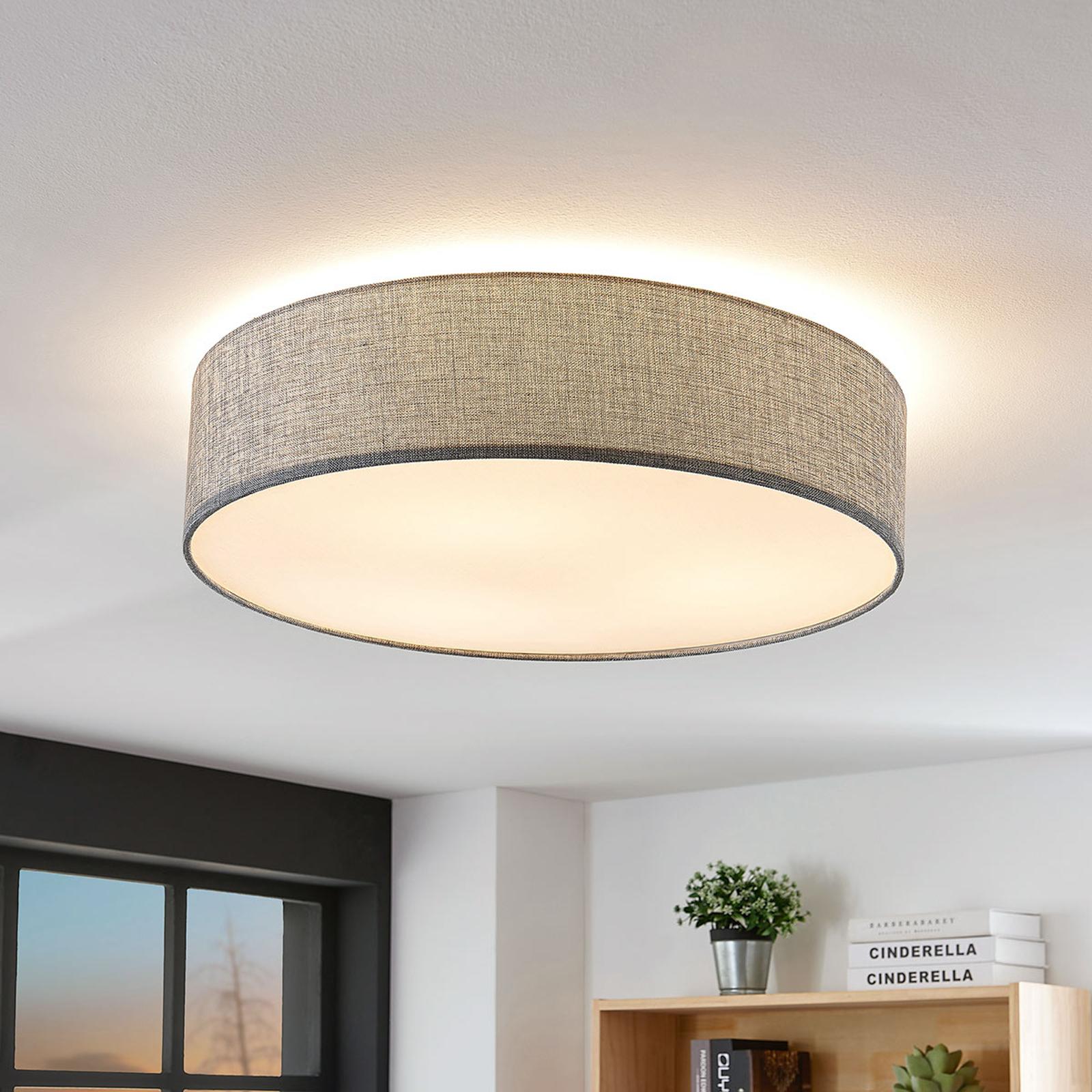 Deckenlampe Gordana aus grauem Leinen, 57 cm