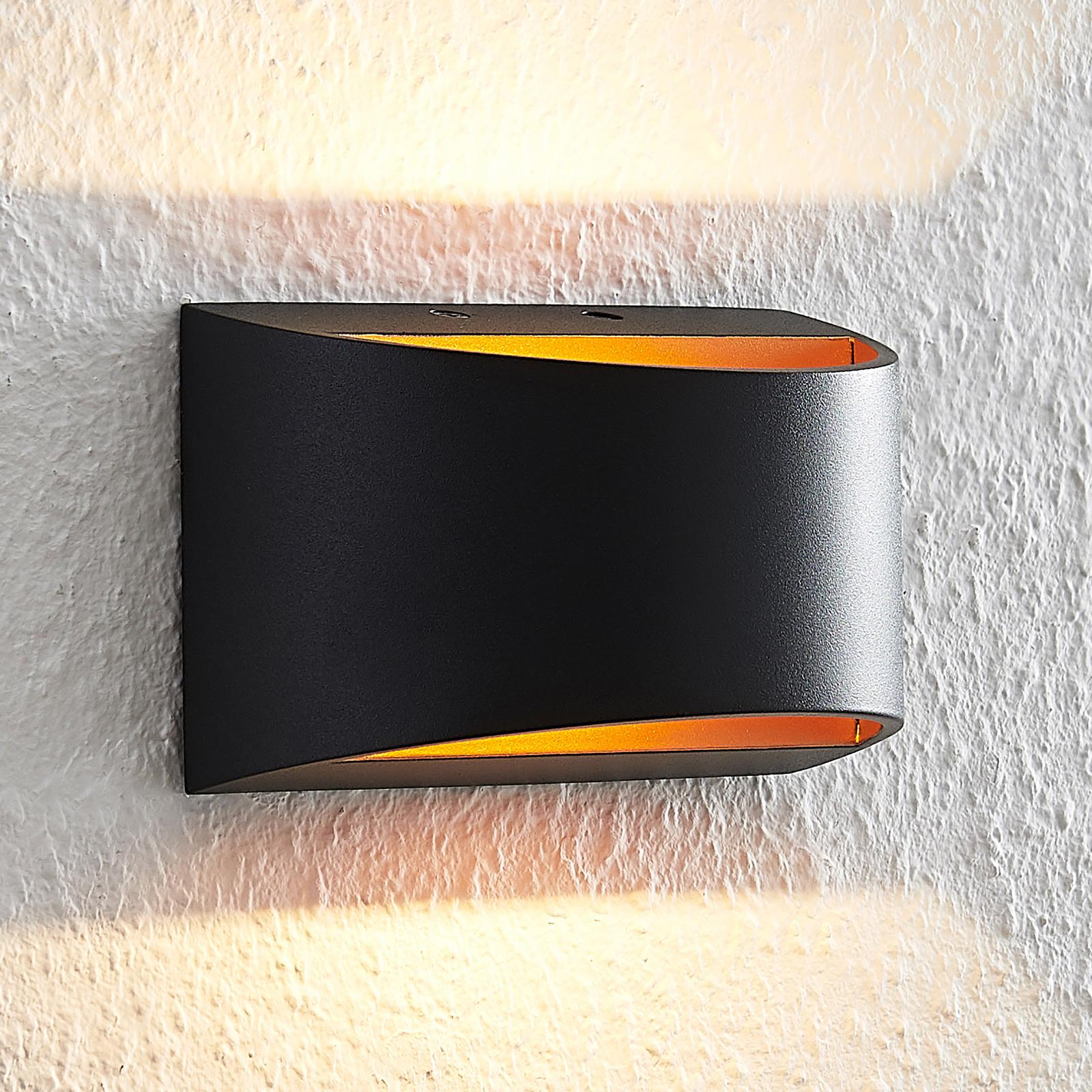 Arcchio Jasina LED wandlamp, halfrond, zwart