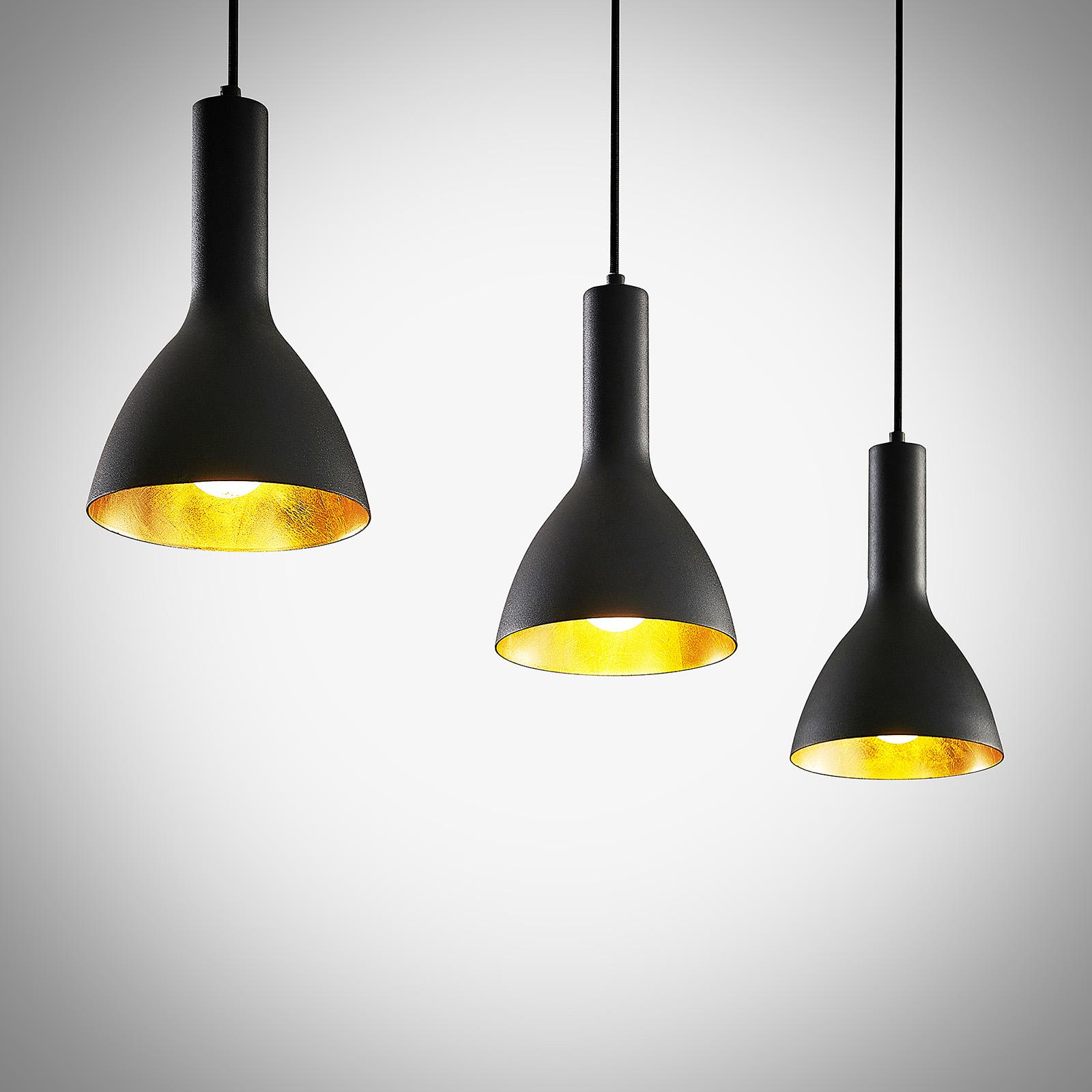 Arcchio Cosmina hanglamp, 3-lamps lang zwart