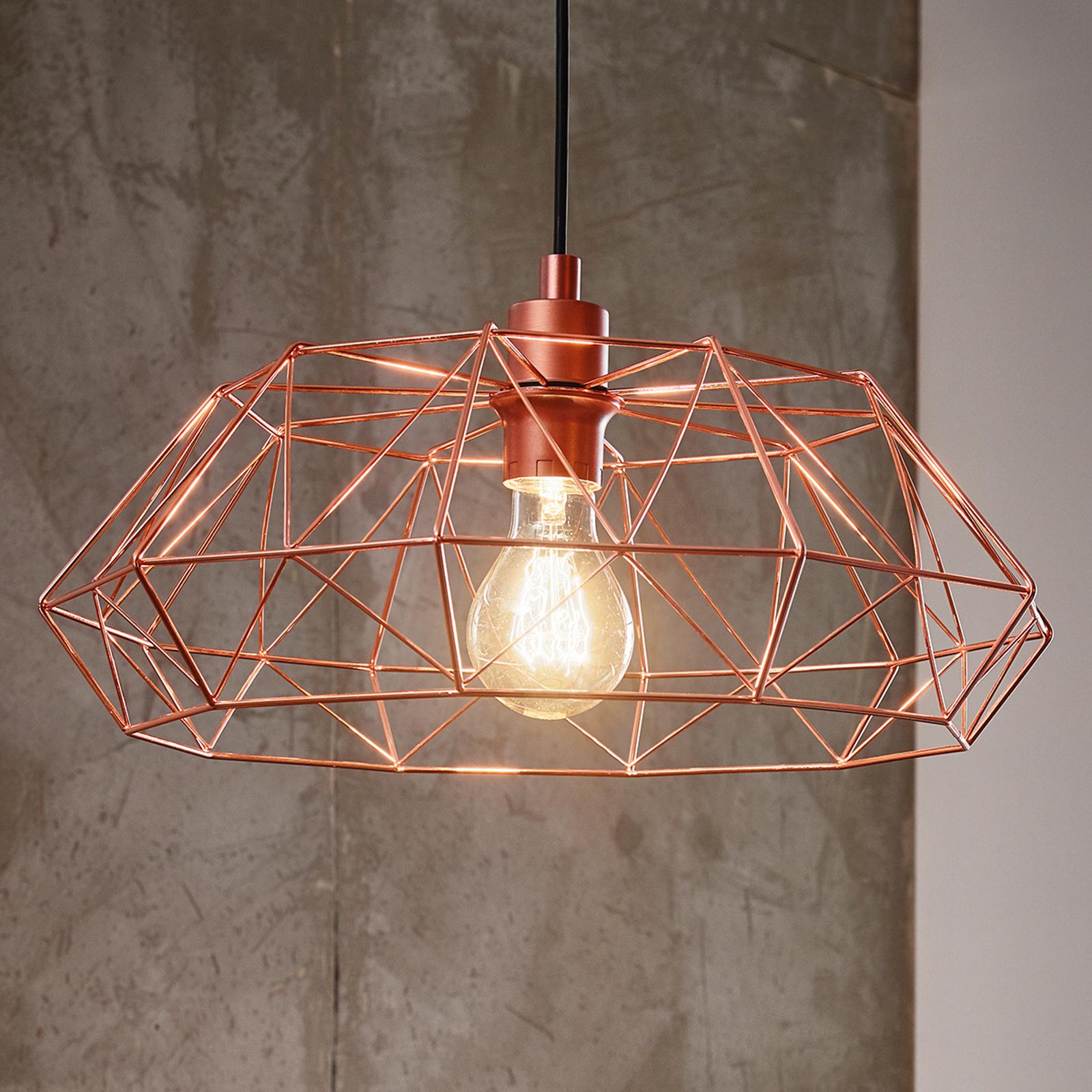 Lampa wisząca Carlton 2, miedziany klosz-klatka