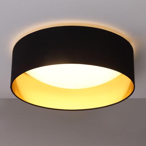 Textilní strop.lampa Coleen v černé, zlatá uvnitř