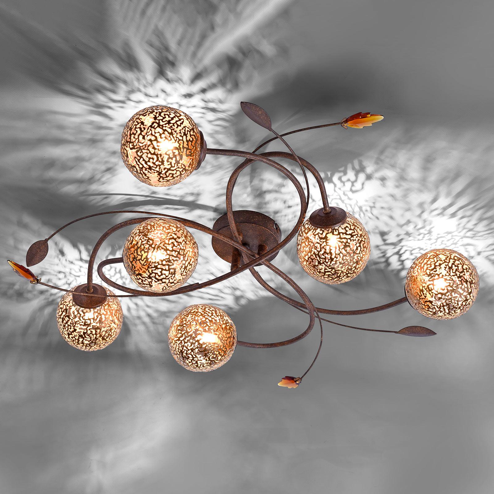 Deckenlampe Greta in floraler Gestaltung, 6-fl.