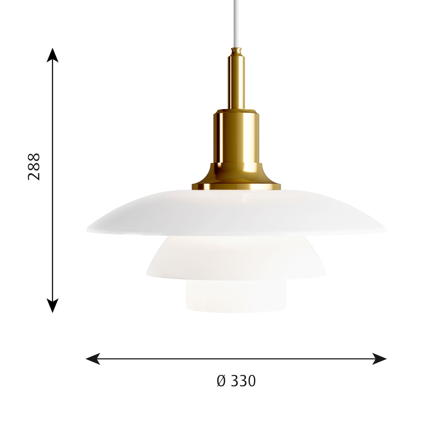 Louis Poulsen PH 3 1/2-3 glazen hanglamp messing